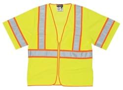 Picture of Vest Safety Mesh Green w/ Stripes Silver/Orange Class 3 - L