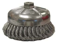 "Picture of 6"" Single Row Knot Wire Cup Brush, .014"" Steel Fill, 5/8""-11 UNC Nut"