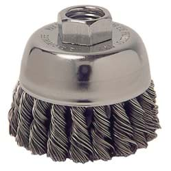"Picture of 2-3/4"" Single Row Knot Wire Cup Brush, .014"" Steel Fill, 5/8""-11 UNC Nut"