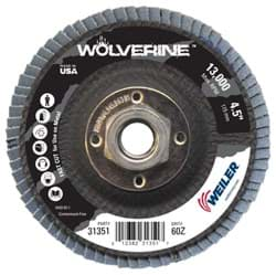 "Picture of 4-1/2"" Wolverine Abrasive Flap Disc, Conical (TY29), Phenolic Backing, 60Z, 5/8""-11 UNC Nut"