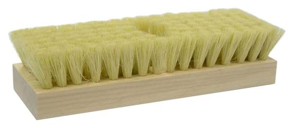 "Picture of 8-1/4"" Acid Scrub Brush, White Tampico Fill, One Tapered Handle Hole"