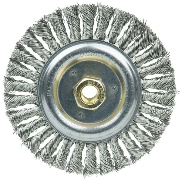 "Picture of DUALLY 6"" Filler Pass Weld Cleaning Brush, .023"" Stainless Fill, 5/8""-11UNC Double-Hex Nut"