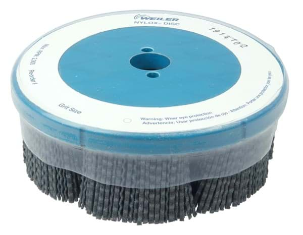 "Picture of 6"" Maximum Density Nylox Disc Brush, 80SC Crimped Rectangular Fill, Banded"