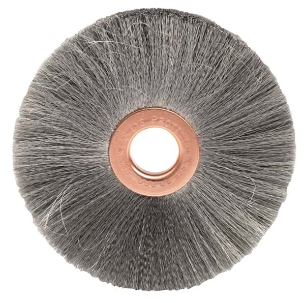 "Picture of 3"" Small Diameter Crimped Wire Wheel, .003"" Steel Fill, 1/2"" Arbor Hole"