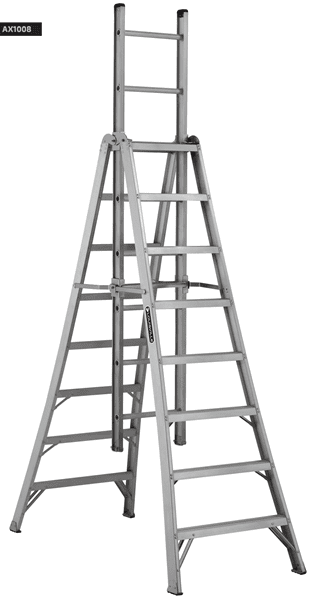 Picture of 10 ft Louisville AX1010 Aluminum Trestle Extension Ladder, Type IA, 300 lb Load Capacity