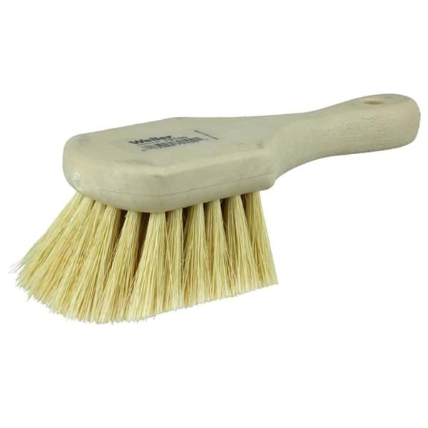 "Picture of 8"" Utility Scrub Brush, White Tampico Fill, Short Handle, Foam Block"