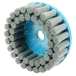 "Picture of 6"" Nylox Disc Brush, Crimped Filament, .040/120SC Fill, 7/8"" Arbor Hole"