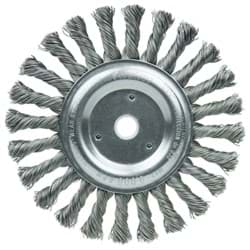 "Picture of 6"" Cable Twist Knot Wire Wheel, .023"" Steel Fill, 5/8""-1/2"" Arbor Hole, Vending Ready"