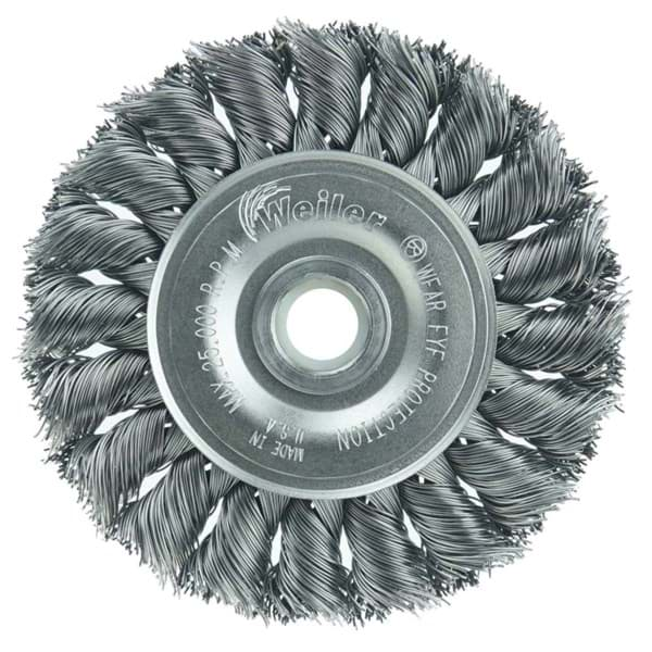 "Picture of 3"" Standard Twist Knot Wire Wheel, .014"" Steel Fill, 1/2""-3/8"" Arbor Hole, Vending Ready"