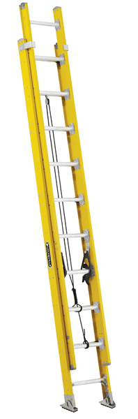 Picture of 16 ft Louisville FE4216HD Fiberglass Extension Ladder, Type IAA, 375 lb Load Capacity, w/ LAD LEV