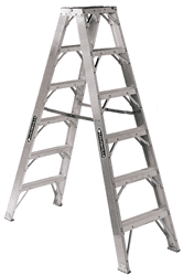 Picture of 6 ft Louisville AM1106HD Aluminum Twin Step Ladder, Type IAA, 375 lb Load Capacity