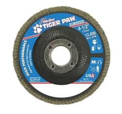 "Picture of 4-1/2"" Tiger Paw  Flap Disc, Conical (TY29), Phenolic Backing, 40Z, 5/8""-11 UNC Nut, Vending Ready"